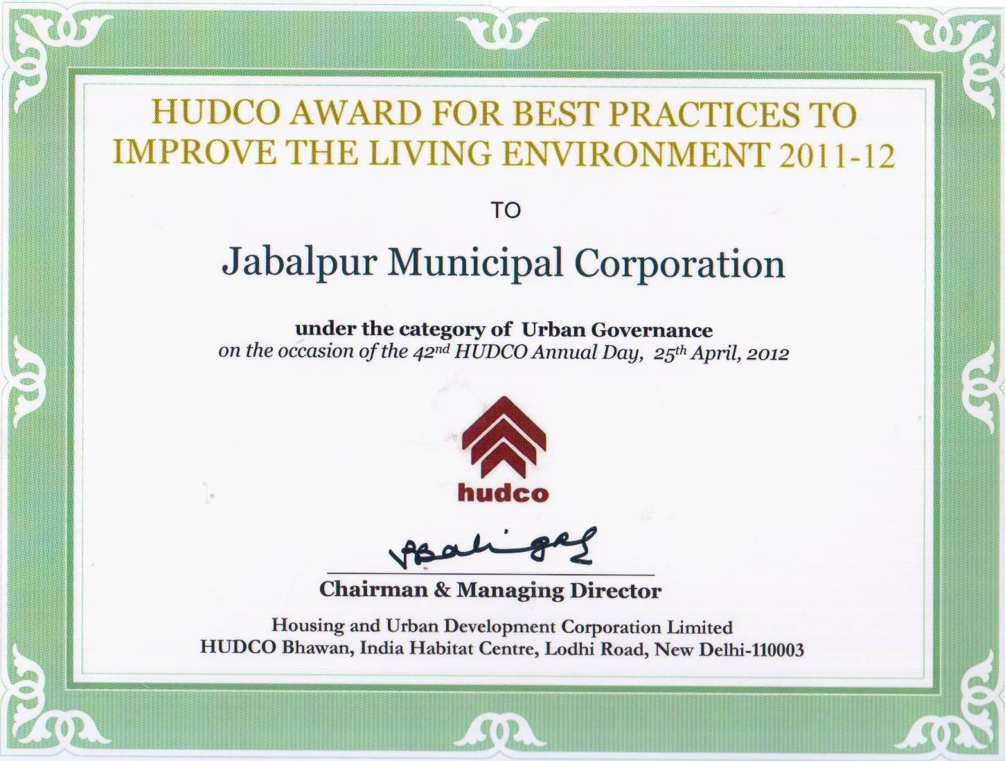 Hudco Award For Best Practices
